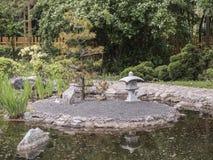 在池塘中间的海岛在日本庭院里 免版税库存图片