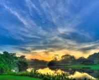 在池塘天空的早晨 免版税图库摄影