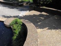 在池塘旁边的弯曲的石步 免版税图库摄影