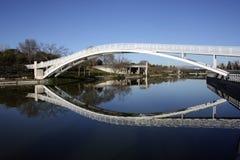 在池塘的一个人行桥 免版税库存照片