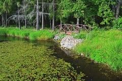 在池塘的一座桥梁在农庄公园Znamenskoye-Rayok庄园(18世纪)在Torzhok区 免版税图库摄影