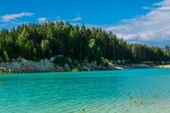 在池塘的天蓝色的岸的沙子海滩 免版税库存图片