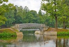 在池塘的桥梁在宫殿公园在Gatchina 免版税库存图片