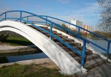在池塘的桥梁 免版税库存照片