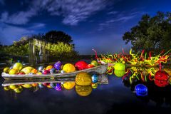 在池塘的玻璃艺术 库存图片
