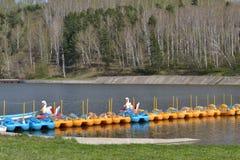 在池塘的筏 免版税库存图片