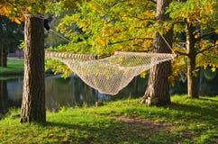 在池塘附近的吊床在秋天公园 免版税库存图片