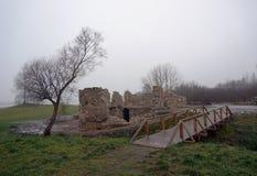 在池塘附近的废墟 免版税库存照片
