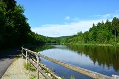 在池塘附近的路径 免版税图库摄影