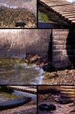 在污染水附近的海滩 免版税图库摄影
