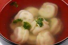 在汤在黑色和红色杯子的饺子在一个被隔绝的白色背景特写镜头 免版税库存图片