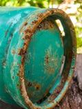 在汽油箱的铁锈金属 免版税库存照片