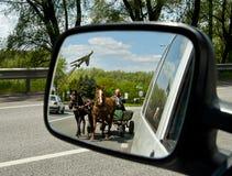 在汽车前的马支架 库存照片