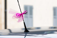 在汽车天线的婚礼丝带 库存照片