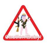 在汽车小心孩子的标志 免版税库存照片