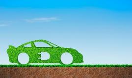 在汽车形状的绿草 免版税库存照片