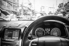 在汽车曼谷的交通堵塞 库存图片