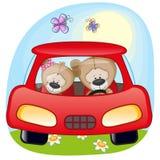 在汽车的两个玩具熊 免版税库存图片