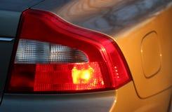 在汽车的刹车灯 图库摄影
