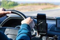 在汽车的司机 免版税库存图片