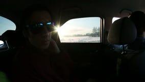 在汽车的太阳的光芒 影视素材