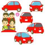 在汽车的家庭,红色汽车例证 免版税库存图片