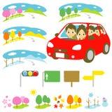 在汽车的家庭,驾驶 免版税库存图片