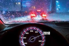 在汽车的新年2018年 免版税图库摄影