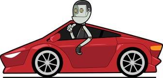 在汽车的机器人 皇族释放例证