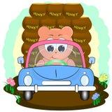 在汽车的逗人喜爱的熊用蜂蜜 r 皇族释放例证