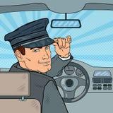 在汽车里面的大型高级轿车司机 汽车夫向致敬的乘客 流行艺术例证 皇族释放例证