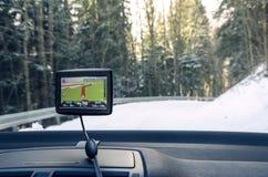 在汽车里面的GPS航海 库存图片