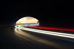 在汽车隧道的美好的抽象光 免版税库存照片