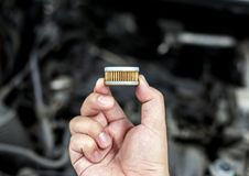 在汽车零件的空气过滤器在驾驶舱内 库存照片
