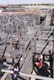 在沃思堡牲畜饲养场的一个Cattlepen迷宫 图库摄影