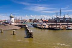 在沃登海的Harlingen港口 免版税库存图片