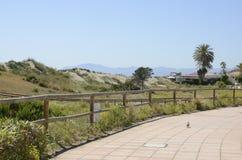 在沙丘中的方式对海滩餐馆 库存照片