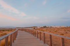 在沙丘的木人行桥,阿尔加威,葡萄牙,日落的 免版税库存照片