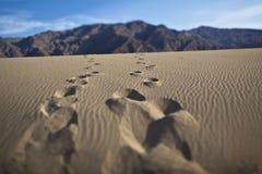 在沙丘的脚印 Death Valley 图库摄影