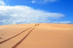 在沙丘的轮胎轨道 库存照片