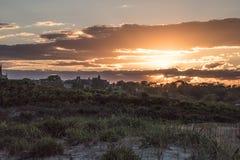 在沙丘草的夏天日落在纽波特,罗德岛州 库存照片