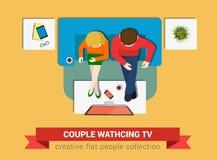 在沙发手表电视的夫妇在传染媒介平台面视图 向量例证