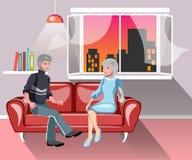 在沙发的老愉快的家庭在家 向量例证