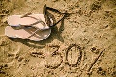 30在沙子写的信 图库摄影