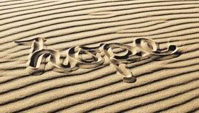 在沙子写的希望在伟大的沙丘国家公园和P 库存图片