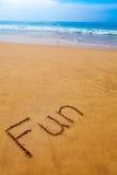 在沙子写的词乐趣在热带海滩 库存图片