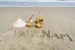 在沙子写的越南 库存图片
