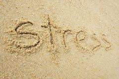 在沙子写的重音 免版税库存图片