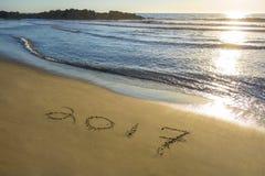在沙子写的2017年 免版税图库摄影