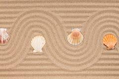 在沙子和贝壳的之字形在波浪沙子 库存图片